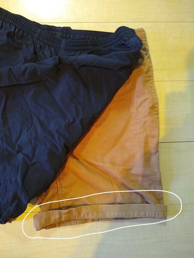 Gショーツ 裾処理